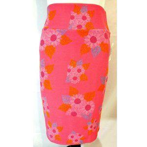 LulaRoe XL Cassie Pink Floral Pencil Skirt